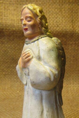 "Vintage CHRISTMAS NATIVITY CHALK WARE ANGEL IN ADORATION 3.5"""