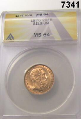 1876 BELGIUM 20 FRANC GOLD LEOPOLD II ANACS CERTIFIED MS64 FLASHY! #7341