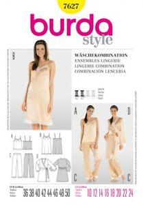 Burda Ladies Easy Sewing Pattern 7627 Pyjamas, Nightie & Dressing Gown (B...