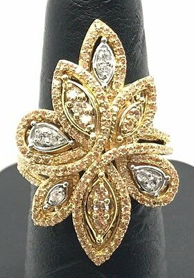 Sterling 925 Gold Tone Yellow Citrine / CZ Cluster Swirl Leaf Cocktail Ring 7 ()