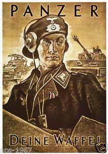 German WW2  Panzer tank commander poster print