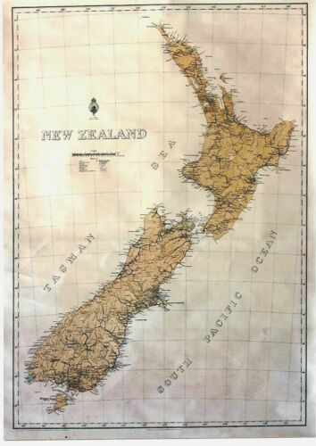 Original vintage poster NEW ZEALAND GEOGRAPHIC MAP c.1920