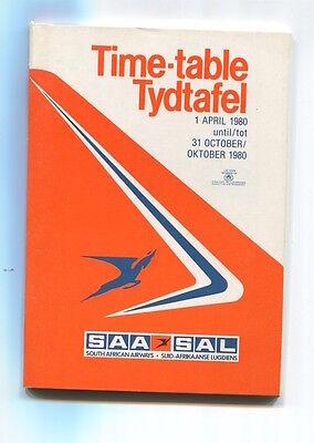 SOUTH AFRICAN AIRWAYS SAA TIMETABLE SUMMER 1980 SAL