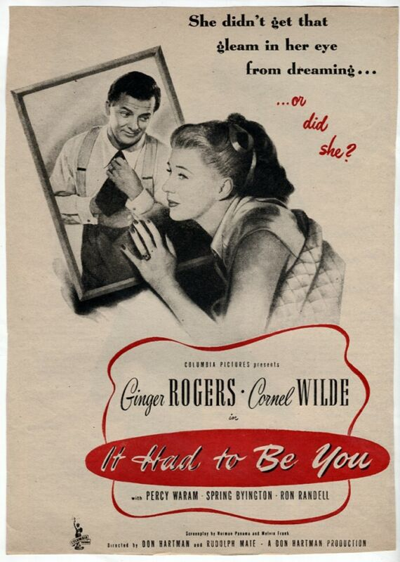 Vintage It Had to Be You 1947 Ginger Rogers Cornel Wilde Movie Magazine AD