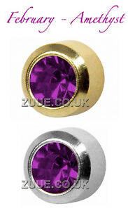 STUDEX PLUS BIRTHSTONES GOLD PLATED & STEEL BEZEL SET EAR PIERCING STUD EARRINGS