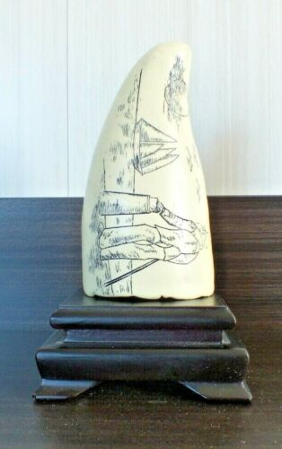Etched Scrimshaw Style Whale Tooth Bone Replica With Schooner Scenes Vintage