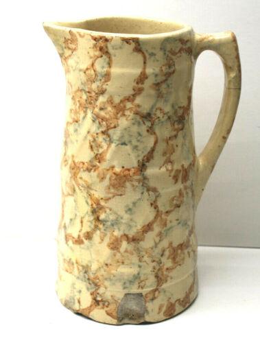 "Antique 9"" Tall Sponge Ware Water Jug Primitive Pottery Ceramic Pitcher Handled"