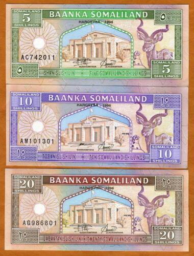 Somaliland Set, 5;10;20 shillings 1994 Picks 1;2;3 UNC