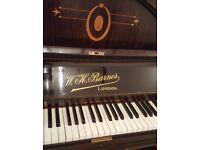 W.H.Barnes brown upright piano