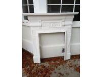 19th Century original Georgian fireplace surround - white - Cast iron & wood