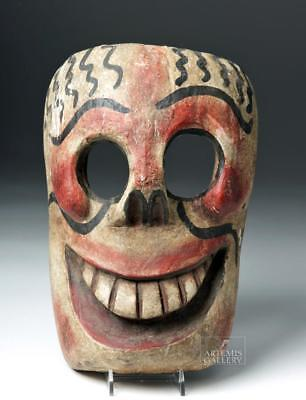 20th C. Mexican Wooden Day of the Dead Carnival Mask Lot 108C