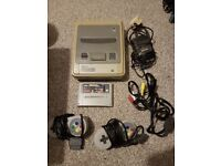 Nintendo Super Nintendo with starwing game and two controls games console vintage