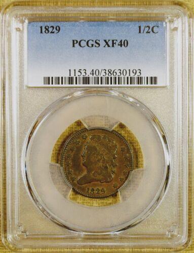 1829 PCGS XF40 Half Cent