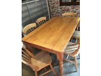 Beautiful solid pine farmhouse dining table with 6 traditional solid wood chairs, 5ft, great quality