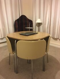 Dining table and 4 chairs - oak effect/cream