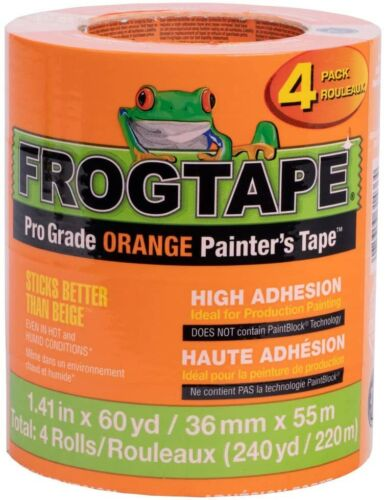 FrogTape Pro Grade Orange Painter's Tape, Each Roll 1.41 in. x 60 yd, 4-Pack