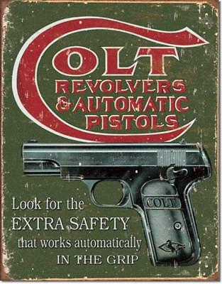 Colt Revolvers Automatic Pistols Extra Safety In The Grip Tin Metal Sign NEW