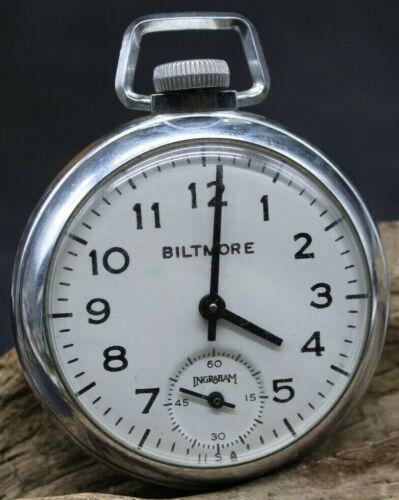 Vintage Ingraham United Mechanical Wind Up Pocket Watch Runs 50.3mm (J2P)