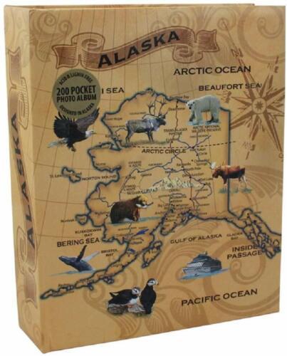 Vintage Alaska Map Laminated Photo Album - 200 Pocket