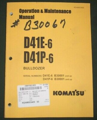 Komatsu D41e-6 D41p-6 Tractor Dozer Operation Maintenance Manual Sn B30001-up