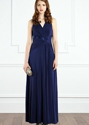 COAST FRANKIE BLUE SILKY JERSEY GRECIAN DRAPE EVENING MAXI DRESS 8 ONCE £150 Grecian Jersey