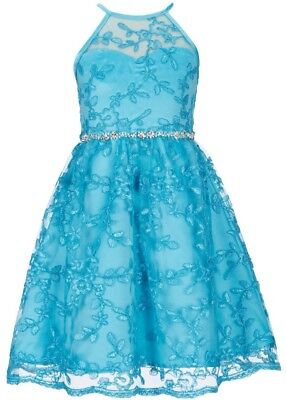 Rare Editions Big Girl's Embellished Waist Fit & Flare Party Dress-Size-14 or 16