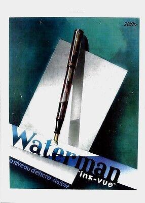 Original vintage print WATERMAN FOUNTAIN PEN INK-VIEW 1937 Colin