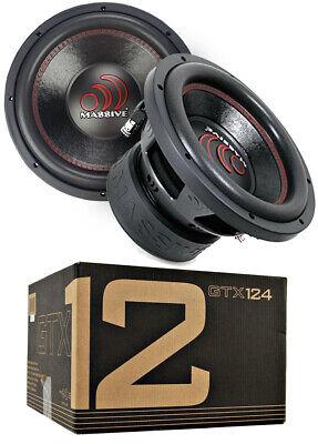 """2x Massive Audio GTX124 2800 W Max 12"""" Dual Voice Coil 4Ohm Car Audio Subwoofer"""