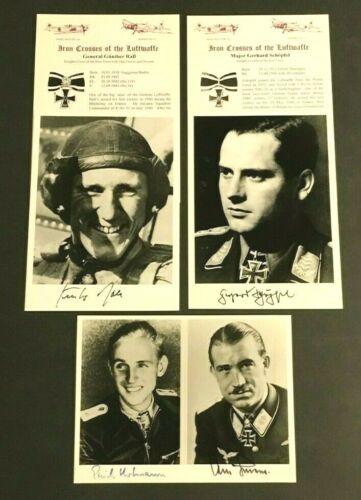 WWII GERMAN LUFTWAFFE SIGNED PHOTOS:GUNTHER RALL,SCHOPFEL,ERICH HARTMANN,GALLAND