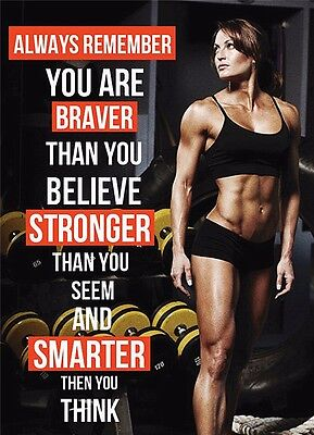 Girl Motivational Posters (Sexy Girl Bodybuilding Motivational Female Fitness Gym Quotes Poster 18