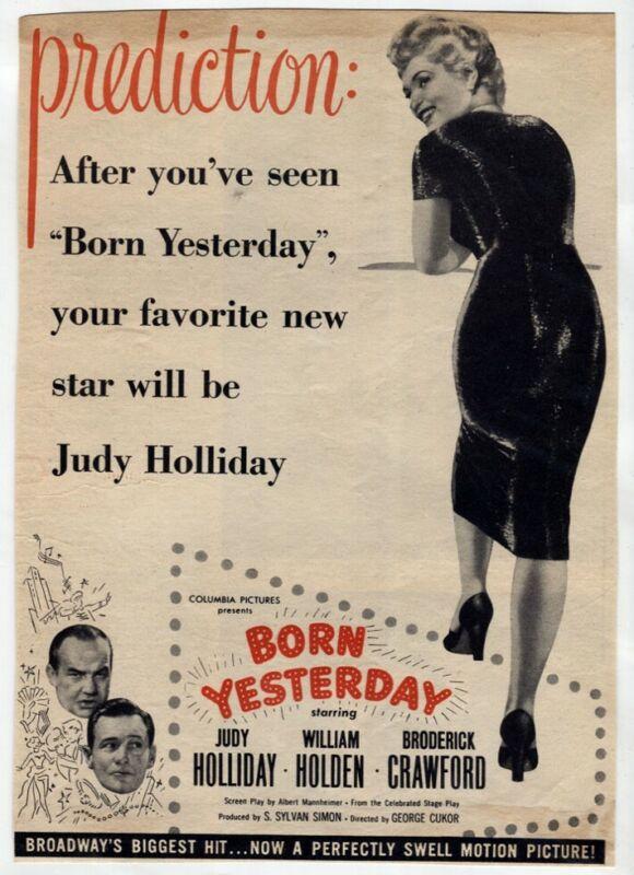 "Original VTG Movie AD ""Born Yesterday""1950 Judy Holliday William Holden Clipping"