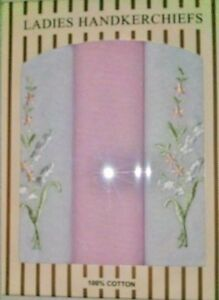 Ladies Handkerchiefs 3 Cotton Embroidery Hankies in pastel shades gift boxed