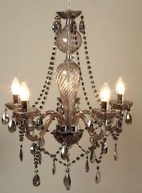 Pair of 5-light glass chandeliers ('smoke' glass)