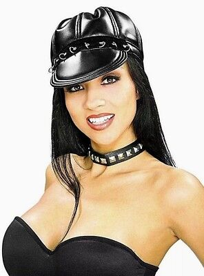 Cats in BLACK LEATHER Cap Biker HAT Dress Up Halloween Adult Costume Accessory - Cats Dressed Up In Halloween Costumes