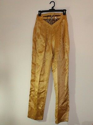 Vintage Cache gold satin animal print high waisted disco pants size 10(a27)