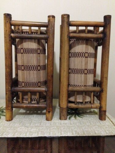 Vintage Tiki Lights Lamps Bamboo Rattan Wicker Table Nightstand Orchids Hawaii