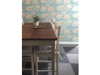 Set of 6 cream vintage style wooden chairs