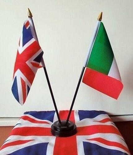 UNION JACK & ITALY UNITED KINGDOM ITALIAN TABLE FLAGS FLAG FRIENDSHIP UK U.K.
