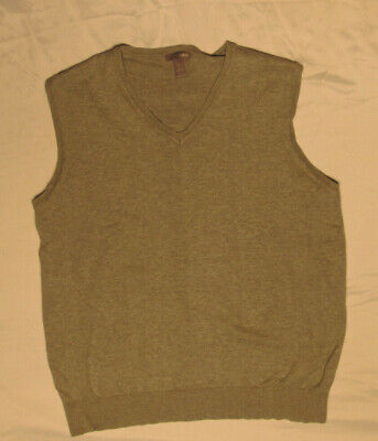 H&M MENS SWEATER GRAY LARGE L V-NECK VEST 100% COTTON MIDWEIGHT GOLF TENNIS