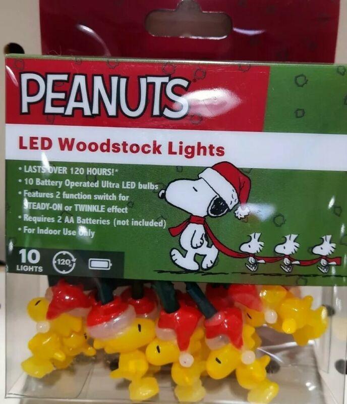 Peanuts Woodstock Battery Operated String Mini LED Light Novelty Set, 10 Figures