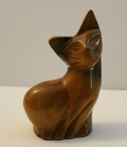 Hand Carved Wooden Cat - Solid Wood - Vintage - Stained Small Siamese