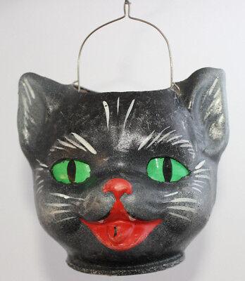 Candycontainer KATZE cat Katzenkopf Candybox Füllbox aus Pappmaché um 1920
