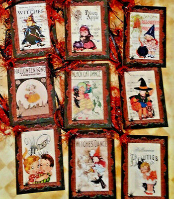 Halloween~Black Cat Dance~Retro~9 Gift Hang Tags~Scrapbooking~Card Craft Making  - Halloween Black Cat Craft