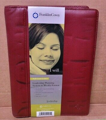 Franklin Covey5.5 X 8.5 Leadership Planning System Full Grain Leather Red