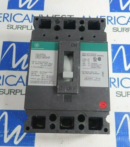 GENERAL ELECTRIC TED134015V 3 POLE CIRCUIT BREAKER 15A 480V *TESTED*