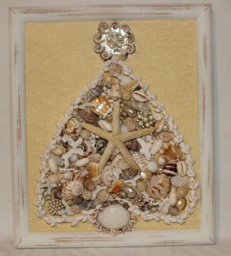 Hand-Crafted Seashells & Vintage Jewelry Christmas Tree Wall Art Framed 10x12