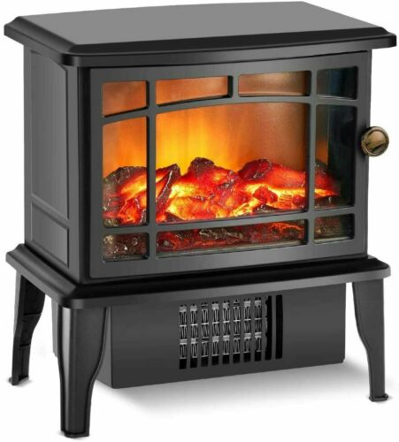 500W Fireplace Heater Electric Stove w/Fast Heating System Portable Realistic 3D