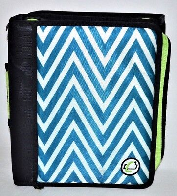 Case It The Z 3 Ring Binder 1.5 Capacity Blue White Chevron Abstract Z-178-p