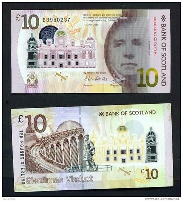 SCOTLAND - 2016 Bank of Scotland £10 Polymer Banknote UNC