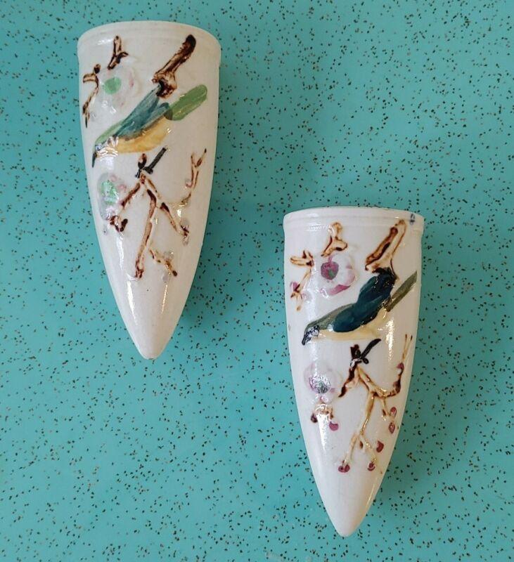 2 Vintage Japan Ceramic Birds Black Wall Pocket Vase Made In Japan